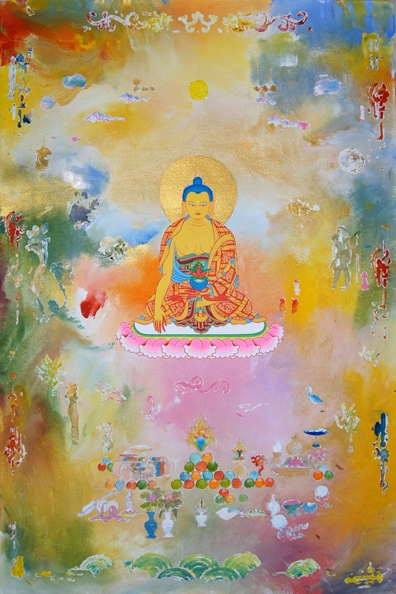 Tim Johnson with Daniel Bogunovic, 'Bhaishaja Guru', 2012, acrylic on canvas, 90 x 60 cm