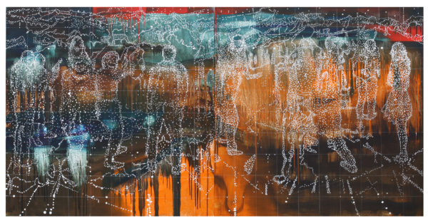 'The decade positions', 2017, oil and acrylic on linen, 100 x 200 cm