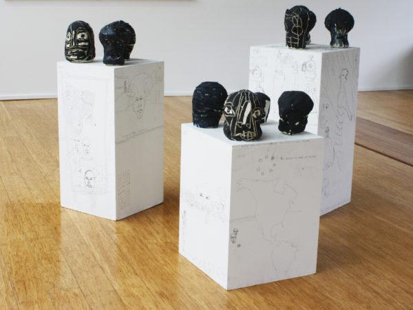 '10/1 to 10/10', 2017, ceramic, pigments, each ca. 22 x 17 x 18 cm, ca. 15 x 11 x 11 cm