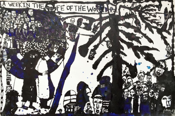 'A week in the life of the world - self report #2', 2015, ink on paper, 121 x 80 cm