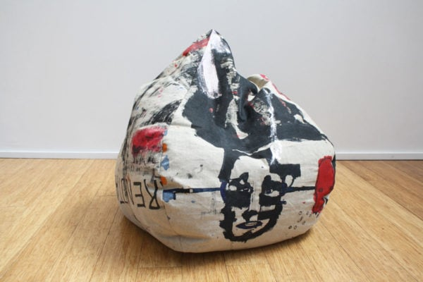 'Bean Bag 1', 2017, ink, oil on linen, dimensions variable