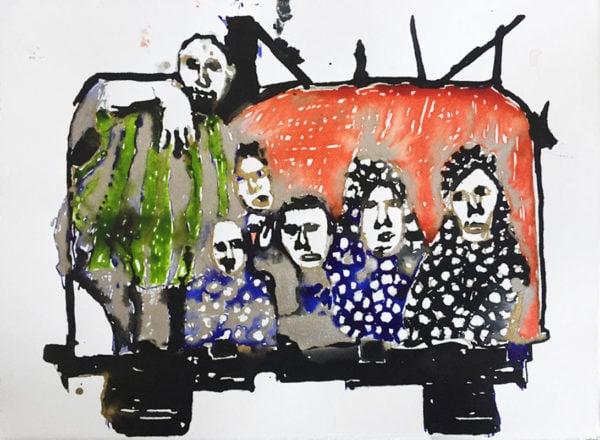 'Bulldozer Exodus Gaza', 2017, ink on paper, 28 x 38 cm