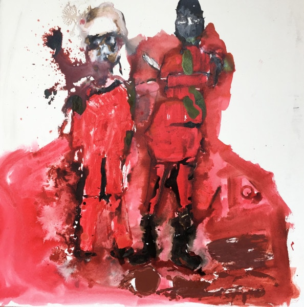 'Fuckinn Atrocity – The beheading of James Foley by I.S', 2014, ink on paper, 77 x 77 cm