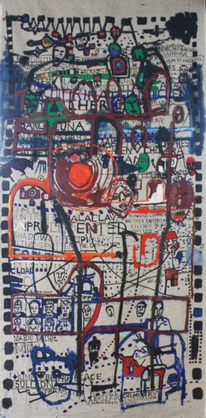 'The Listening Post', 2017, ink, oil on linen, 310 x150 cm