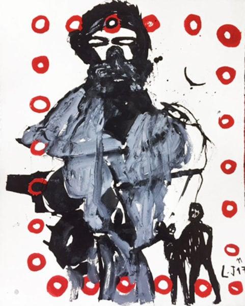 'War Monger', 2017, ink on paper, 41 x 33 cm