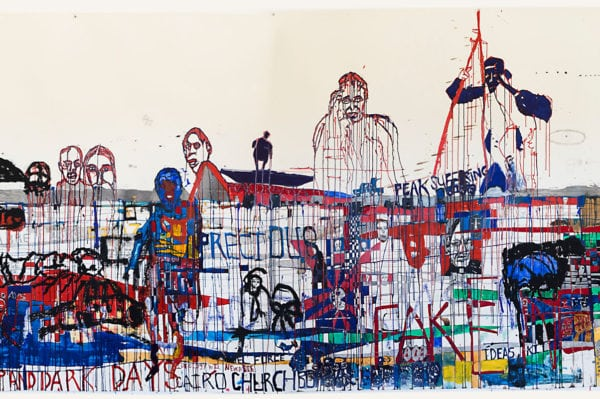 'Wir Schaffen Das' [Detail], 2017, ink, pencil and oil on paper, 154 x 1000 cm