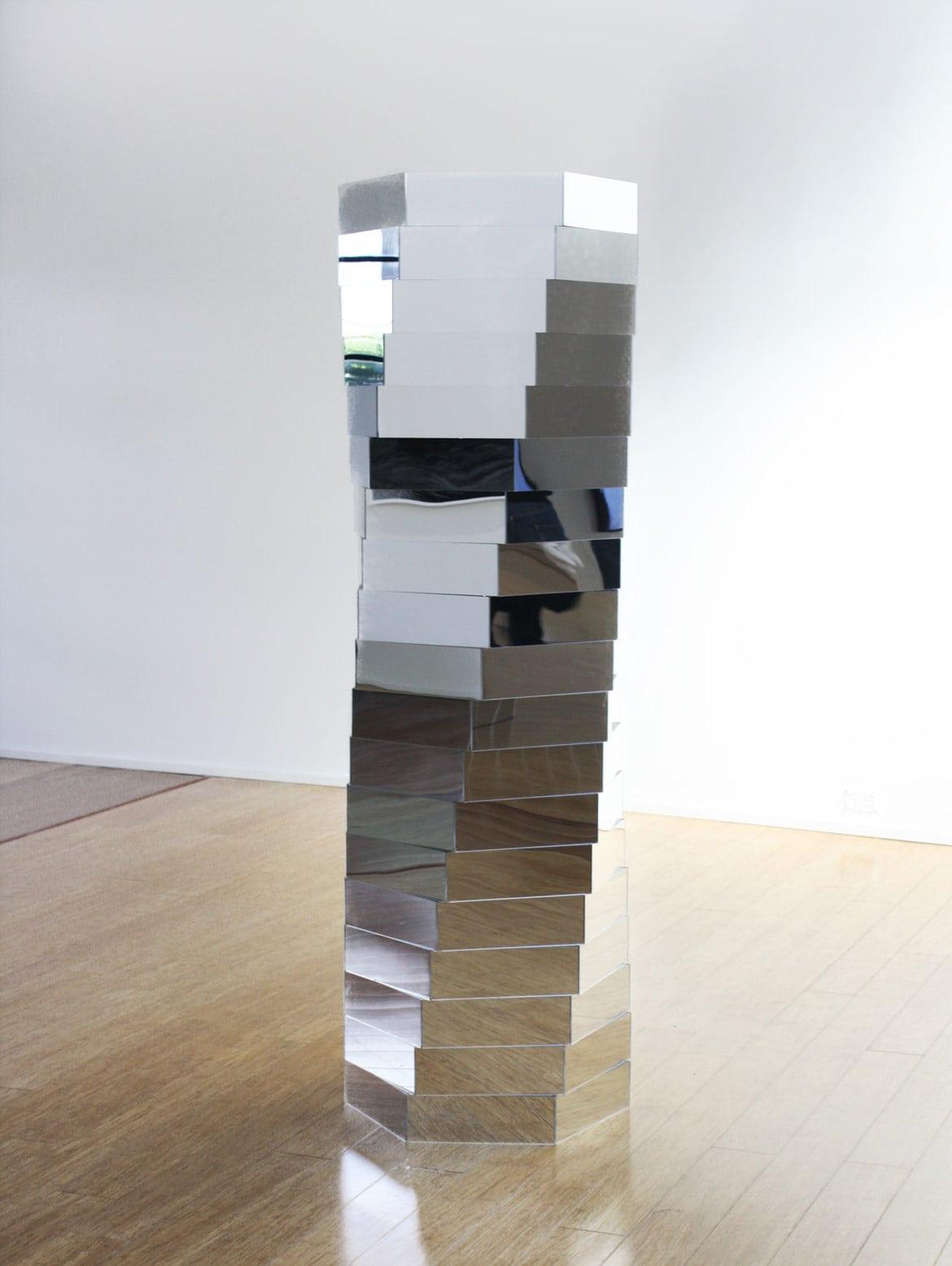 'Anticipation Machine', 2017, acrylic mirror, 190 x 70 x 70 cm, edition of 1 + 1a.p.