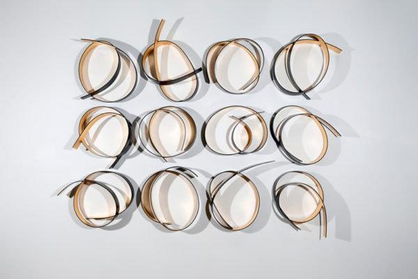 'Full Circle Black/Gold: No 3', 2017, bending ply, laminate, Dutch gold leaf, polyurethane, 185 x 230 x 20 cm