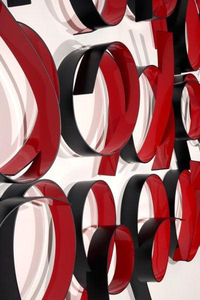 'Full Circle Red/Black: No 2', 2017, bending ply, polyurethane, laminate, 185 x 290 x 22 cm