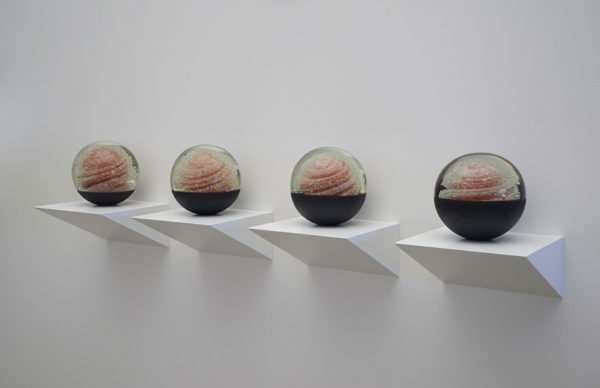 'Luna Rosa: Nos 1–4', 2017, glass, lustre, duck eggshell, perspex mirror, timber, polyurethane, 19 x 24 x 24 cm