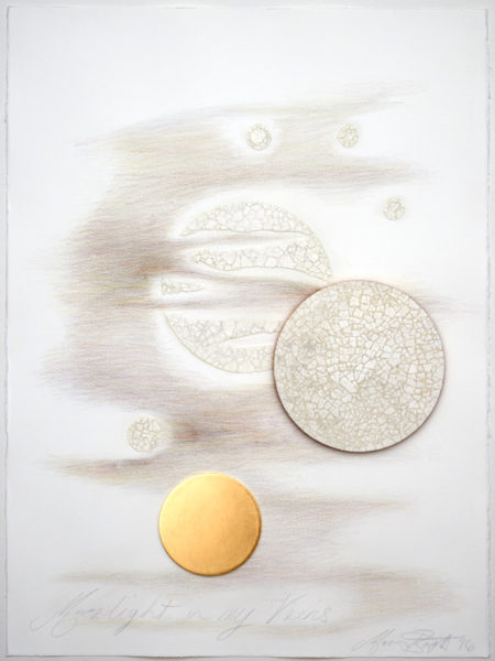 'Moonlight in my Veins No 7', 2017, Fabriano paper, coloured pencil, Dutch gold leaf, duck egg shells, MDF, framed, 83 cm x 67 cm