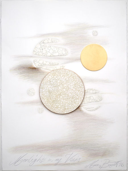 'Moonlight in my Veins No 9', 2017, Fabriano paper, coloured pencil, Dutch gold leaf, duck egg shells, MDF, framed,  83 cm x 67 cm