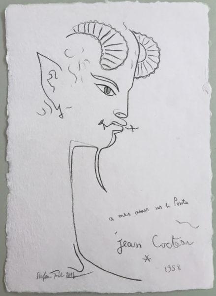 'Cocteau 1958', 2016, colour pencil on handmade paper, 42 x 30 cm