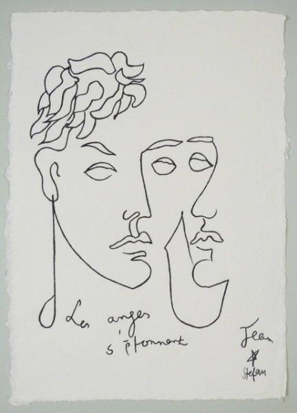 Cocteau Les anges' 2016, colour pencil on handmade paper, 43 x 31 cm