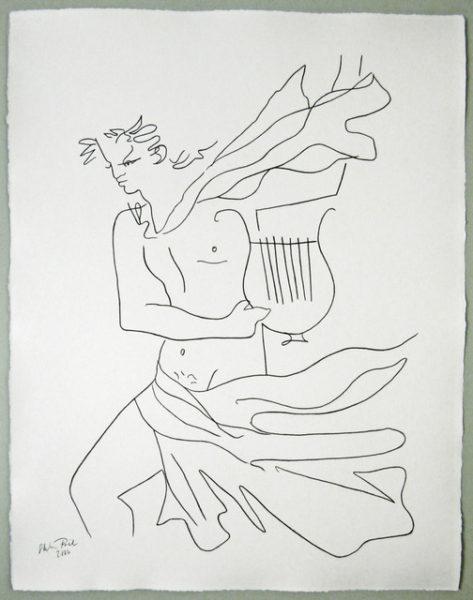 'Cocteau Orphée', 2016, colour pencil on handmade paper, 66 x 52 cm