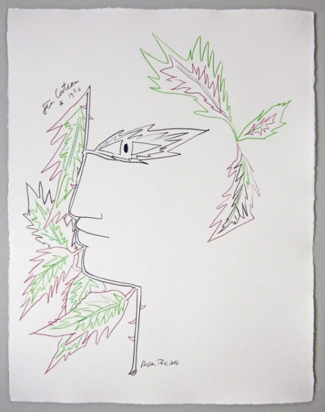 'Cocteau Tête d'Orphée aux feuilles', 2016, colour pencil on handmade paper, 66 x 56 cm