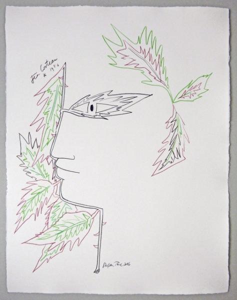 'Cocteau Tête d'Orphée aux feuilles', 2016, colour pencil on handmade paper, 66 x 56 cm