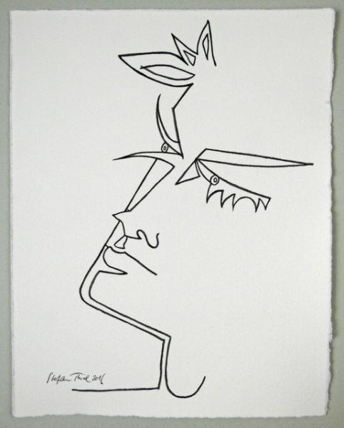 'Cocteau Tête d'Orphée (2)', 2016, colour pencil on handmade paper, 33 x 26 cm