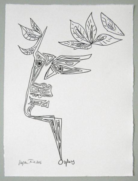 'Cocteau Tête d'Orphée (3)', 2016, colour pencil on handmade paper, 44 x 34 cm