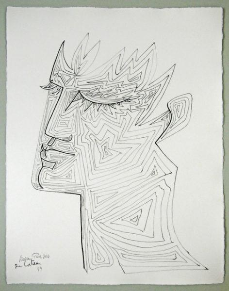 'Cocteau Tête d'Orphée (4)', 2016, colour pencil on handmade paper, 66 x 52 cm