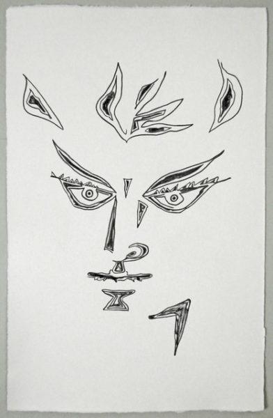 'Cocteau face1', 2016, colour pencil on handmade paper, 52 x 33 cm