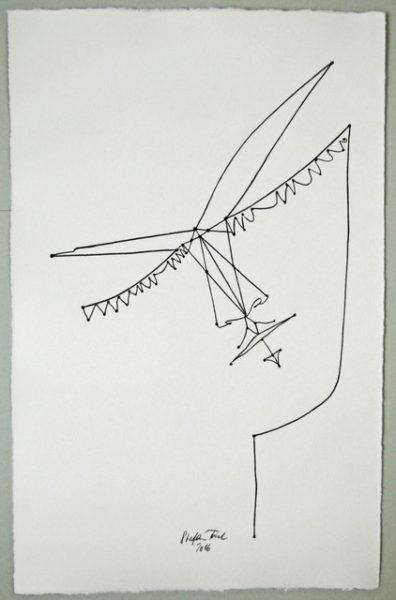 'Cocteau face2', 2016, colour pencil on handmade paper, 52 x 33 cm