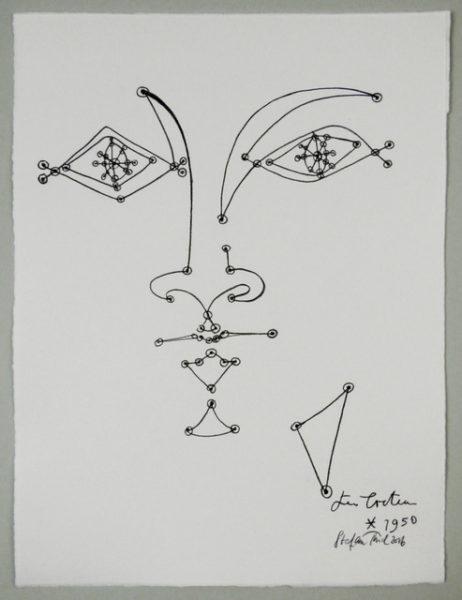 'Cocteau face4', 2016, colour pencil on handmade paper, 42 x 31 cm