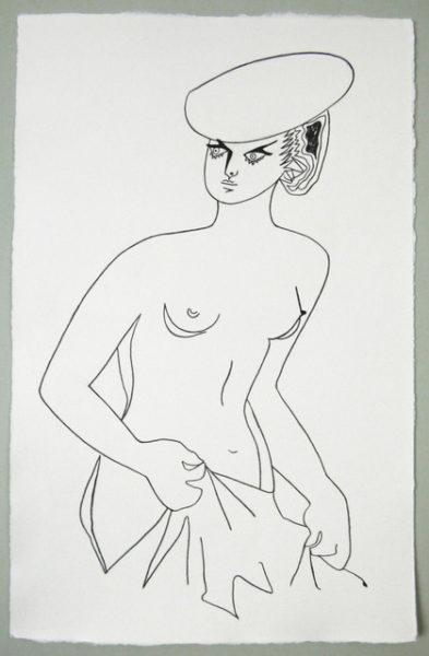 'Cocteau female1', 2016, colour pencil on handmade paper, 51.5 x 33 cm