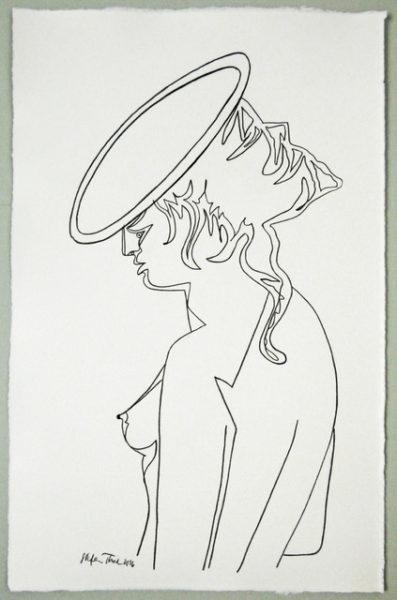 'Cocteau female2', 2016, colour pencil on handmade paper, 52 x 33 cm