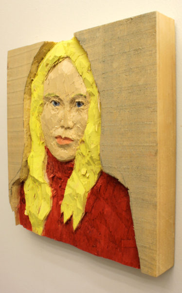 Exhibition shot of 'Woman with blond hair', 2008, poplar wood, paint, 28 x 30 x 4 cm