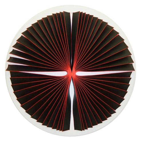 'Bloodlight Strip: Fig. 10', 2015, canvas, acrylic, timber, pins, perspex shadow box, 73 x 73 x 11 cm