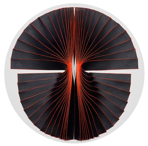 'Bloodlight Strip: Fig. 9', 2015, canvas, acrylic, timber, pins, perspex shadow box, 73 x 73 x 11 cm
