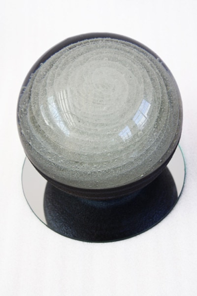 'Tsukimi Swirl No.17', 2014, solid glass sphere, metallic lustres, mirror, 16 cm diameter