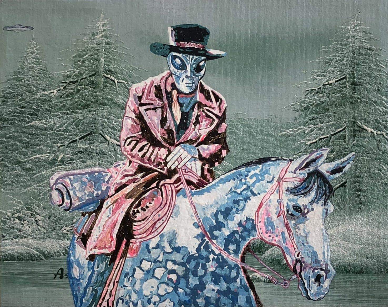 Tim Johnson and Daniel Bogunovic, 'High Plains Drifter', 2019, acrylic on sourced canvas  painting,  20 x 25 cm