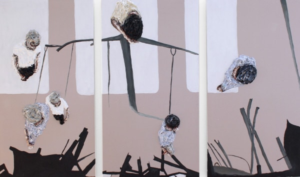 'Untitled', 2015, oil on canvas, 3 panels each 130 x 70 cm, display size ca. <br /> 130 x 230cm<br />