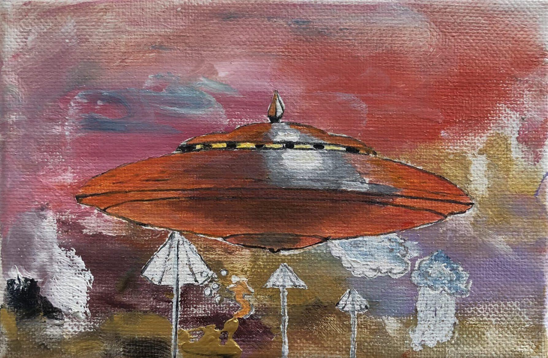 Tim Johnson, 'Red UFO', 2017, acrylic on canvas, 10 x 15 cm