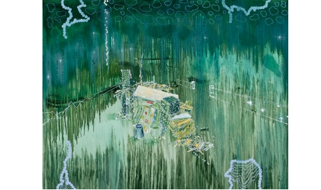 'Imagine A Raft (Hard Rubbish 9)', 2012, Oil and acrylic on linen, 140 x 180 cm