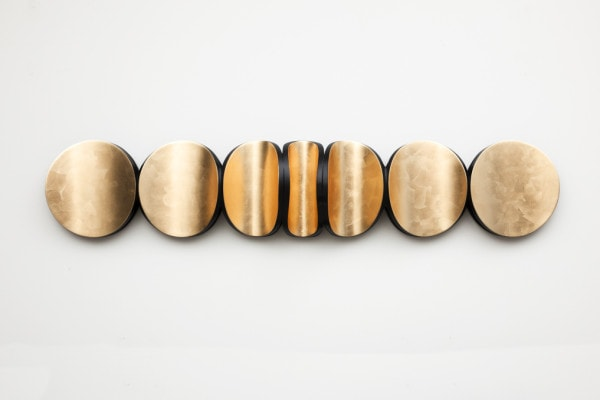 'Lunar Swell: No. 3', 2015, Dutch gold leaf, hoop pine ply, MDF, timber, polyurethane, 35 x 184 x 16 cm<br />