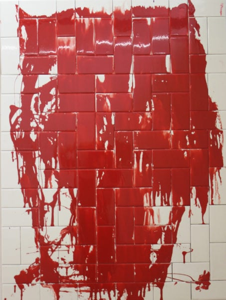 'Deep in the Woods', 2017, enamel on ceramic bathroom tiles on marine plywood, 120 x 90 cm.