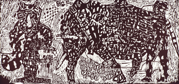 'Lord Kitcheners Big Five', 2012, Linocut, Arches Cover White 300gsm, 65cm x 120cm (unframed size), edition of 7