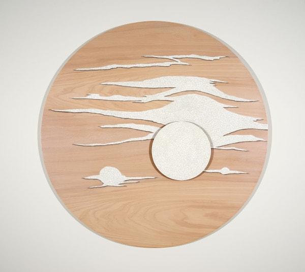 'Lunascape Day: No. 1', 2015, Kauri pine, MDF, duck eggshell, polyurethane, acrylic, beeswax, 115 cm diameter<br />