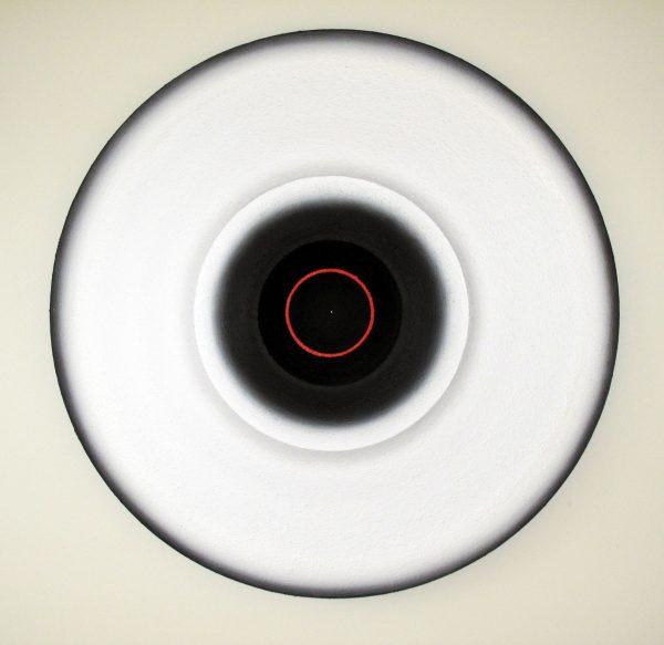 Marion Borgelt, 'Lune Lumina: No. 8', 2006, canvas, oil, texture, timber, 100 cm diameter x 12 cm deep