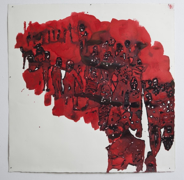 'Screen shot - Yazhidi's ', 2015, Ink on paper, 86 x 86 cm, framed