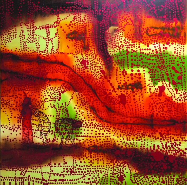 'Map me Guard me', 2006-2013, oil and acrylic on linen, 140 x 140 cm