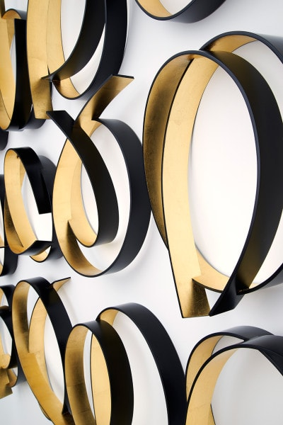 'Full Circle Black/Gold (15 pieces)', 2015, Dutch gold leaf, polyurethane, bending ply, laminate,175 cm H x 200cm L x 15 cm