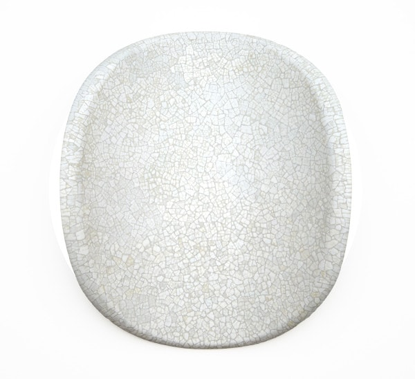 'Lunar Warp: No 15', 2015, duck eggshell, MDF, bending ply, mirror stainless steel 46 cm diameter x 11 cm deep