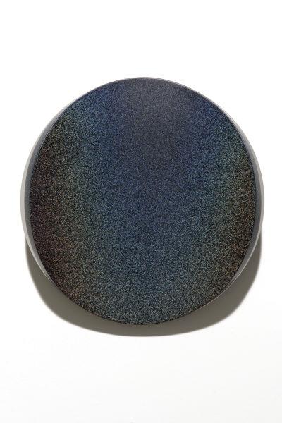 'Lunar Warp: No 18 (Night)', 2018, timber,<br /> polyurethane, mirror stainless steel, 50 cm diameter x 10.5 cm deep