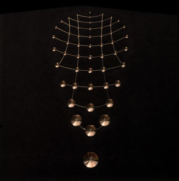 'Bronze Pulse; Variation 1', 2018, silicon bronze, phosphor bronze, black patina, 250 x 130 x 3 cm