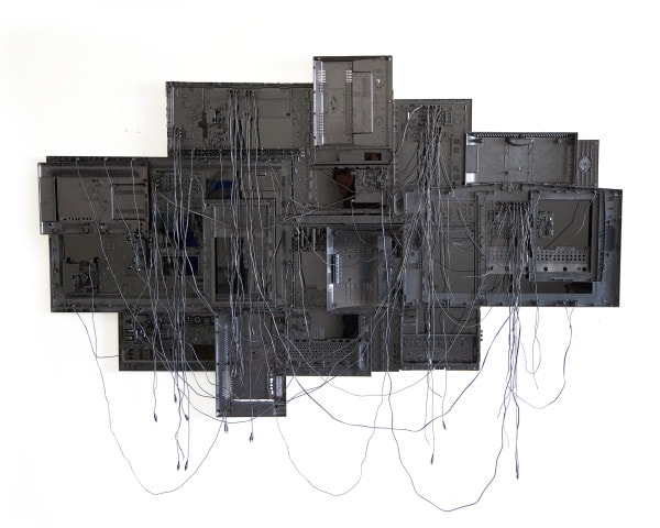 'Slow Drifting Hunch', 2015, Television components, AV chords, mounted on acrylic,183 x 257 x 15 cm,
