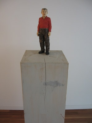 'Man with red shirt', Painted wood; 162 x 40 x 40 cm